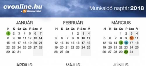 2018. évi munkaidő naptár
